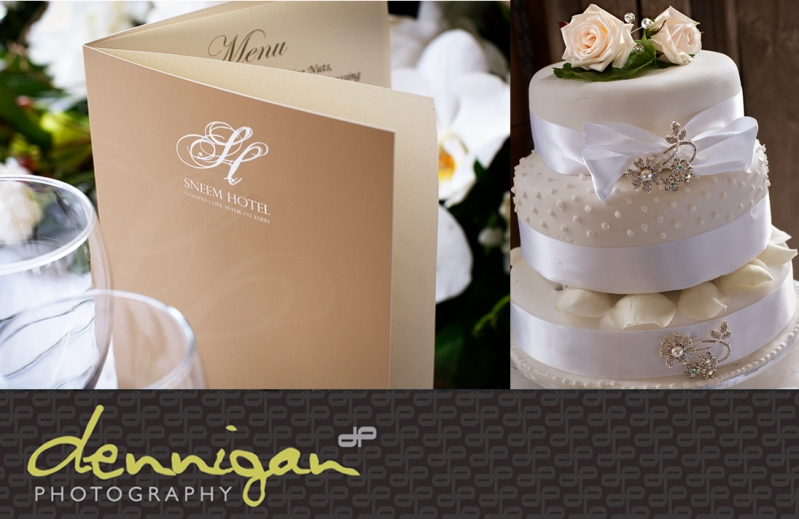 Sneem Hotel wedding menu and cake